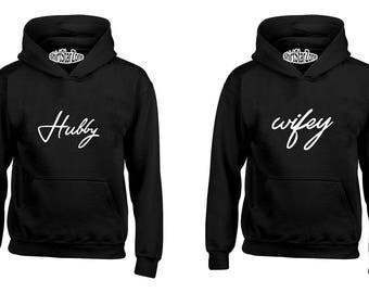 Couple Hoodies Hubby & Wifey Matching Couple Couples Cute Matching Love Couples Valentine's Day Gift