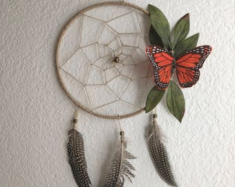 Butterfly dreamcatcher, butterfly wallhanging, boho wallhanging, nursery wallhanging