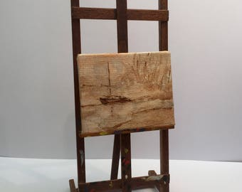 Miniature Easel with Painted Canvas
