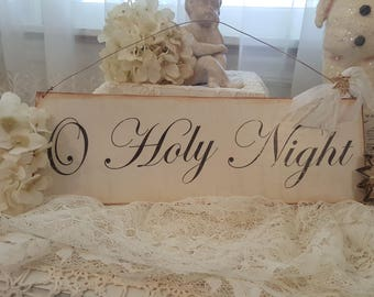 Vintage O Holy Night Painted Wood Sign Antique Christmas Sign Hanging Wood Sign