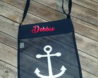Large Personalized Sea Shell Bag, Beach Tote,