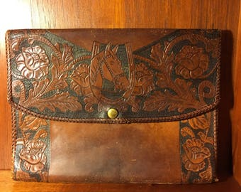 Vintage Brown Leather Clutch Laptop Sleeve with Tooled Horseshoe and Head and 2 Dividers