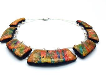 Statement necklace, Faux Dichroic necklace, Geometric polymer clay necklace, Choker multicolour necklace, collar necklace