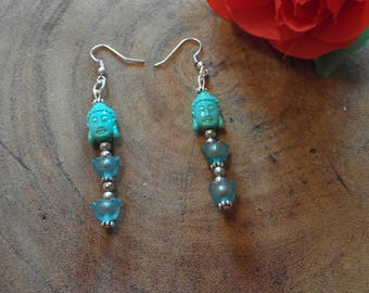 Mint green Buddha earring with lilies