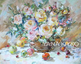 Roses, Apples, Cherries, Flowers Painting, Pastel Colors, Impressionist Art, Modern Floral Painting, Wedding Gift, For Her,27x35 inches