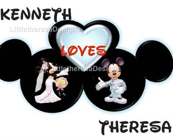 I Love You Mickey & Minnie Wedding Iron On Transfer