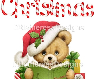 Merry Christmas Teddy Bear Iron On Transfer