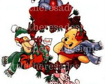 Winnie The Pooh,Tigger and Eeyore Christmas Transfer,Digital Transfer,Digital Iron On,Diy