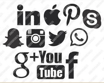 Social media svg files, social icons digital download vector files, social media clipart, Cricut, silhouette studio, svg, png, dxf, eps