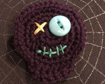 Handmade Crocheted Zombie Pin