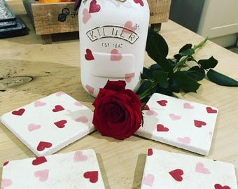 Heart decorated jar and coasters.