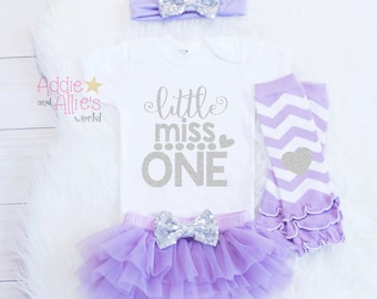 Lavender & Silver First Birthday Outfit, Little Miss ONE Outfit, Girl 1st Birthday Girl Outfit, Cake Smash Outfit, 1 Birthday Shirt, B13LS