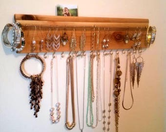 Jewelry organizer with picture slot, wall necklace holder, earrings display, bracelets holder
