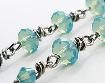 Stainless Steel Wire-Wrapped Swarovski Crystal Dangle Earrings