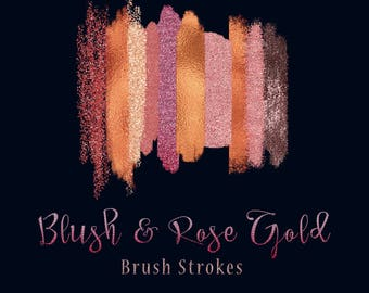 BLUSH & ROSE GOLD Brush Strokes,  Brushed Metallic, Glitter, Leather texture, shimmering Textile, Marble brush overlay, isolated png clipart