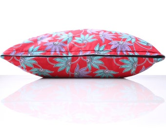 red, purple and turquoise floral batik decorative pillow cover | cushion cover | pillow cover | throw cover pillow