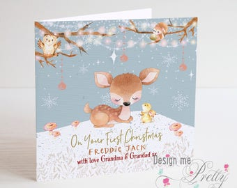 Baby Boys First Christmas Card - personalised with name and relationship