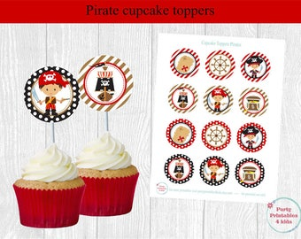 Pirate Cupcake Toppers, Pirate Birthday Tags, Pirate Circle Stickers, Printable PDF, Instant Download