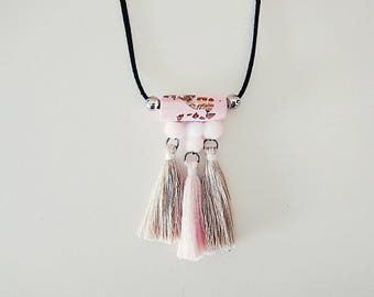 Dusty Pink And Champagne Tassels Necklace