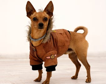 Brown Vintage Dog Jacket,Puppy Full Leather Clothes
