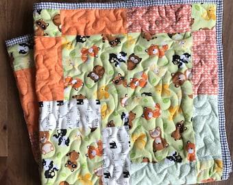 Buy Quilt get Bib Thru March 25th, Baby Quilt, Girl, Boy,Quilt,Gender Neutral,Woodland Baby Quilt