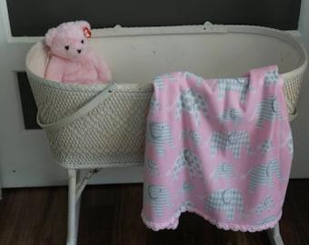 Fleece Baby Blanket, Elephants, Girl,Pink,Baby Blanket