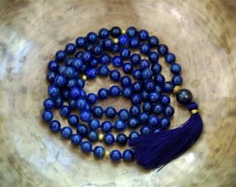 Lapis lazuli Mala beads, 108 Mala Bead, Mala Necklace, Prayer Beads, Yoga Jewelry, Japa Mala, Meditation, Lapis lazuli Necklace