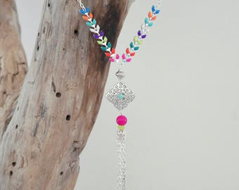 SALE necklace silver chain and mesh multicolor Spike (COEP01AG)