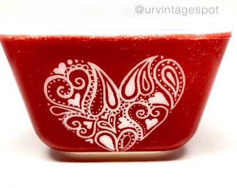 Red Pyrex / Hand Etched / Heart Design / Red Fridgie / Primary Refrigerator Set / Valentines Day Gift / Pyrex Gift / Pyrex Present