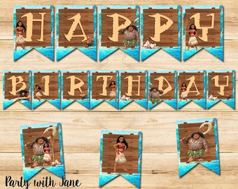 Moana Happy Birthday Banner Sign Bunting, Party Decorations Decor Supplies, Printable, Hawaii, Maui, Ocean, Disney, Princess