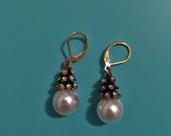 Gold Earrings / Pearl Earrings / Wire-Wrapped Earrings / Gift Wrapped / Dangle Earrings / Bridesmaid Gift, Statement Earrings