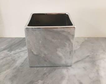 Silver Cube Vase/Planter