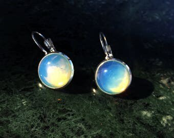 Opalite stone natural stud earring silver leverback dangle earring