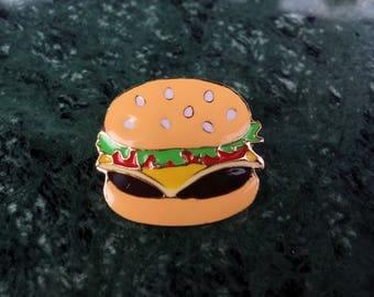 Cheese burger food enamel pin
