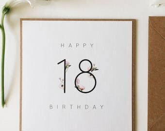 18th Birthday Card || Birthday Milestone Card, Handmade Happy Birthday, Greetings Card For Her