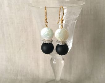 Coin Pearl, Cubic Zirconia and Black Matte Bead Drop Earring