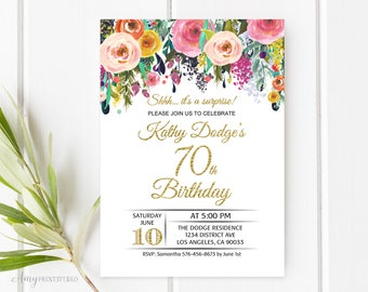70th Birthday Invitation, Floral Birthday Invitation, Surprise Birthday Invite, PERSONALIZED, Digital file, #W30