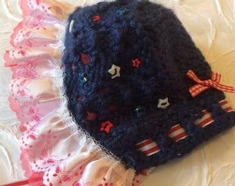 Navy Blue Patriotic Baby  Bonnet/Hat