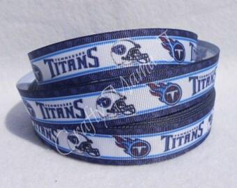 "LAST CUT of Tennessee Titans NFL Football Team 7/8"" Grosgrain Ribbon 10 yards."