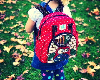 Handmade Kids daycare/ kindy backpack - RED