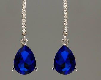 Rhodium Plated Blue Crystal Wedding Bridesmaids Drop Dangle Earrings bridal wedding jewelry bridesmaid gift, prom, chandelier earrings