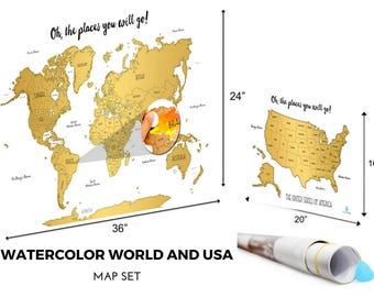 Free Two Day Shipping Included | Set of 2 | Watercolor World and United States Scratch Off Map Set | PERFECT GIFT for any travel enthusiast!