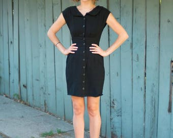 50s Buttoned Wiggle Dress- Black XXS XS Extra Small 00