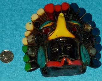 Vintage Maya Mayan Aztec Mexico Wall hanging Sculpture With Head Dress Jewelled Eyes