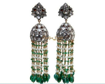 Victorian style 7.70ctw rose cut uncut polki diamonds pearl emerald sterling silver Statement long danglers Wedding earrings mughal jhumka