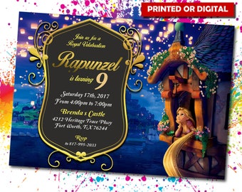 Rapunzel Printed Invitation, Princess Rapunzel, Rapunzel Birthday, Rapunzel, Rapunzel PDF, Rapunzel Digital, Rapunze,  IB 007