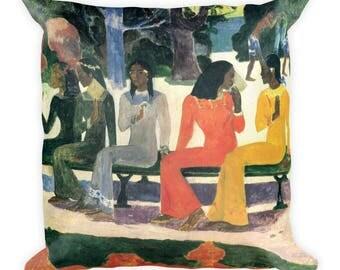 Paul Gauguin, The Market - Square Pillow