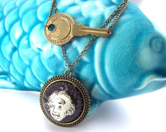"""Al"" double necklace with key and Bottlecap"