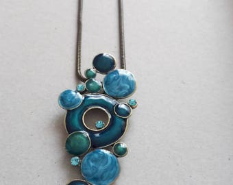 VINTAGE old gold necklace with turquoise blue enamel eyes , style 1980
