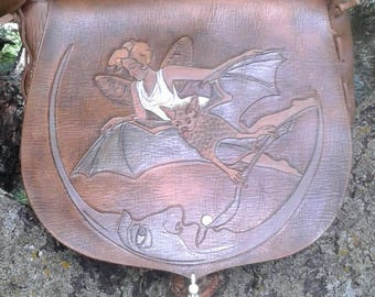 Whimsical tooled leather purse